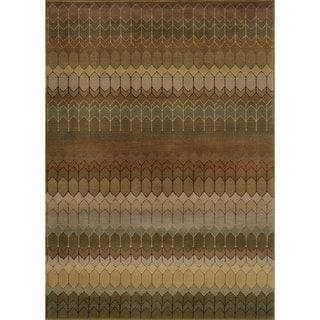Geometric Brown/ Green Rug (7'10 x 10'10)