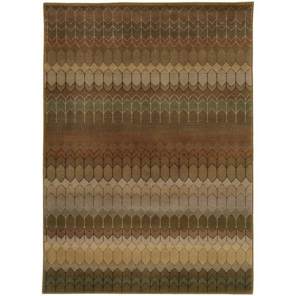 "Geometric Brown/ Green Rug (7'10 x 10'10) - 7'10"" x 10'10"""