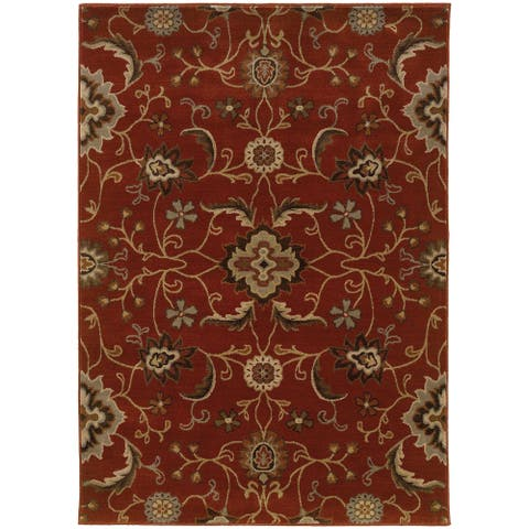 "Floral Red/ Multi Rug (7'10 x 10'10) - 7'10"" x 10'10"""