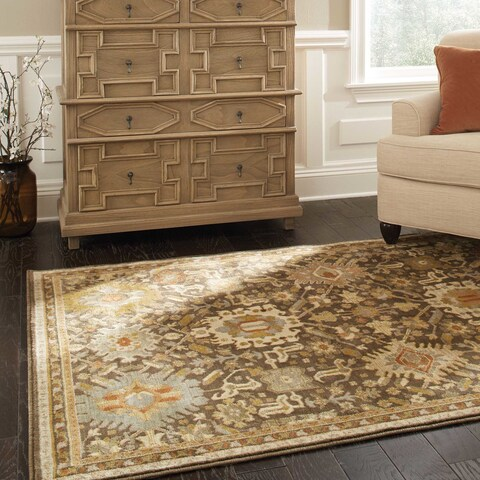 "Copper Grove Astilbe Tribal Brown Area Rug - 9'10"" x 12'10"""