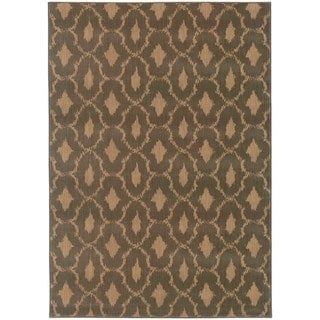 Ikat Panel Blue/ Ivory Nylon/Rug (9'10 x 12'10)
