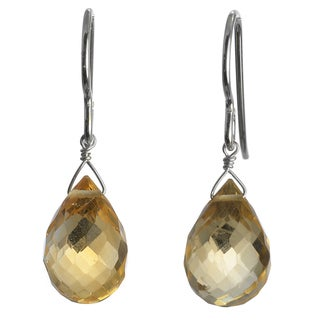 Ashanti Silver Golden Yellow Citrine Faceted Briolette Earrings (Sri Lanka)