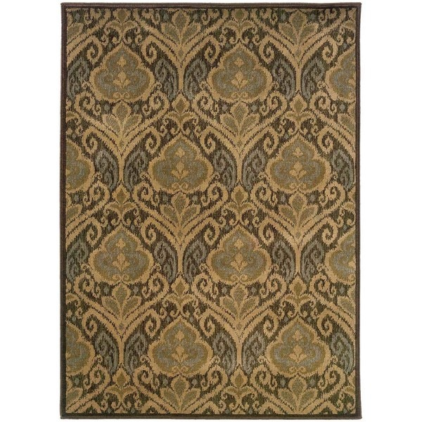 Floral Panel Green/ Ivory Nylon/Rug