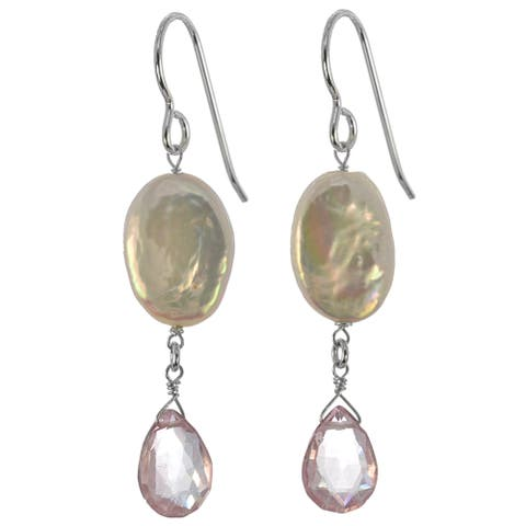 Freshwater Coin Pearl, Pink Quartz Gemstone Silver Earrings