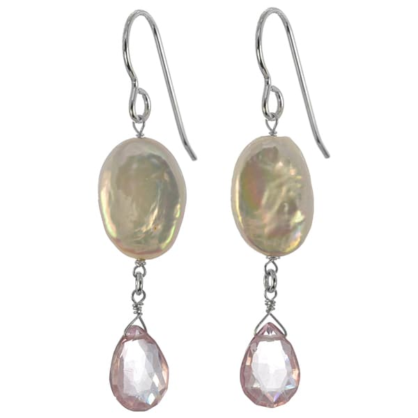 Freshwater Coin Pearl, Pink Quartz Gemstone Silver Earrings. Opens flyout.