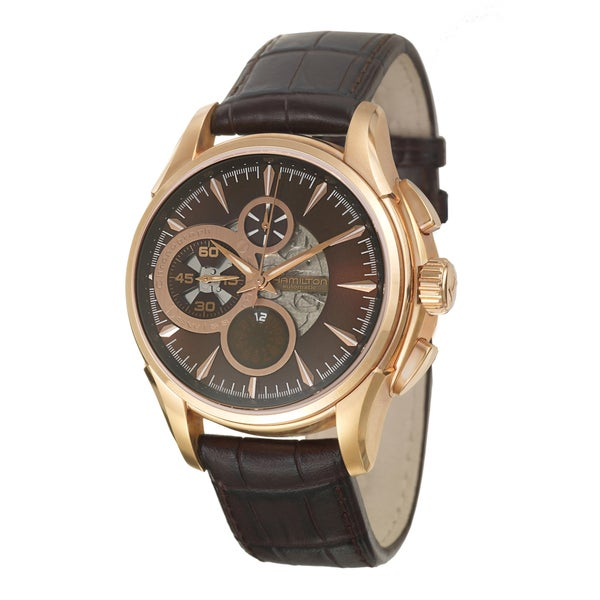 Hamilton Men's 'Jazzmaster' Stainless Steel Rose-goldplated Swiss Automatic Watch