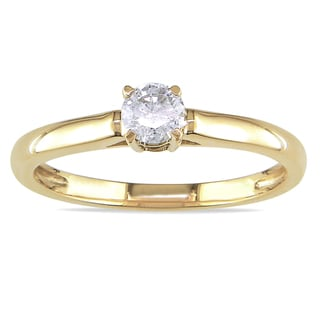 Miadora 14k Yellow Gold 1/4ct TDW Diamond Engagement Ring