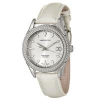 Hamilton Women's 'Jazzmaster' White-Leather Stainless-Steel Swiss Automatic Watch