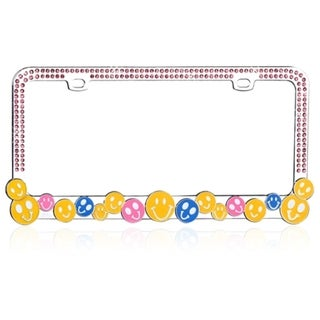 INSTEN Colorful HAPPY FACE with Crystals Metal License Plate Frame