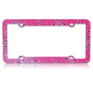 INSTEN Classical Flowers Hot Pink Plastic License Plate Frame
