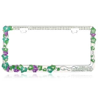 INSTEN Classy Grape Vine with Green Crystals Metal License Plate Frame|https://ak1.ostkcdn.com/images/products/8099065/8099065/BasAcc-Classy-Grape-Vine-with-Green-Crystals-Metal-License-Plate-Frame-P15449633.jpg?impolicy=medium