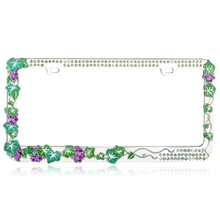 INSTEN Classy Grape Vine with Green Crystals Metal License Plate Frame