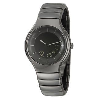 Rado Men's 'Rado True' Polished Black Ceramic Swiss Quartz Watch