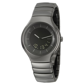 Rado Men's 'Rado True' Polished Black Ceramic Swiss Quartz Watch