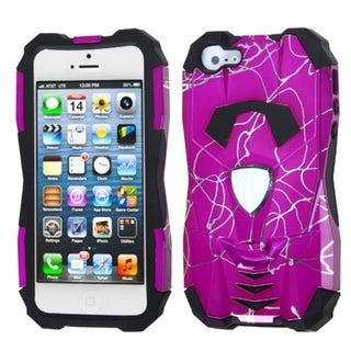 INSTEN Curved Lines Hot Pink/ Black Car Hybrid Phone Case for Apple iPhone 5/ 5S/ SE