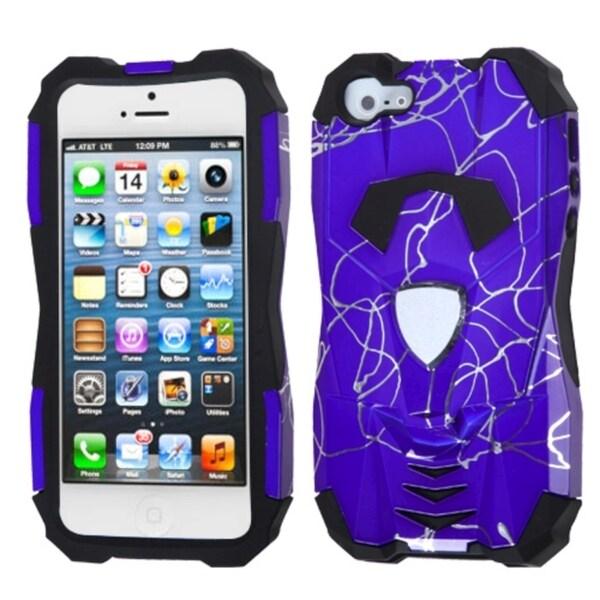 INSTEN Curved Lines Purple/ Black Car Hybrid Phone Case for Apple iPhone 5/ 5S/ SE