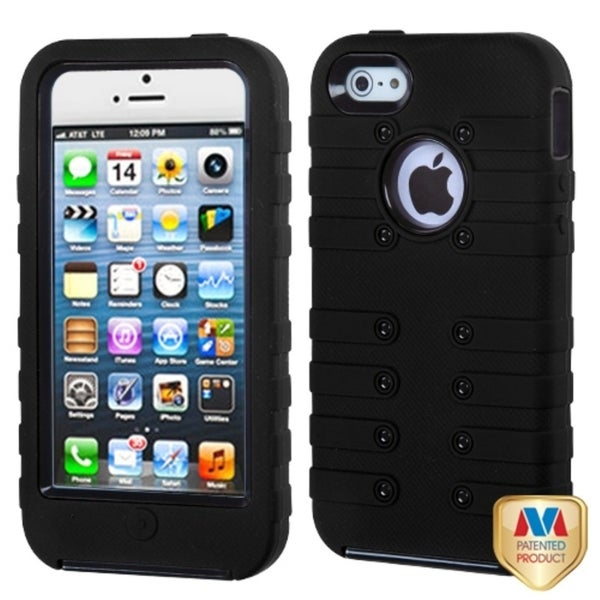 INSTEN Black/ Black TUFF eNUFF Hybrid Phone Case Cover for Apple iPhone 5
