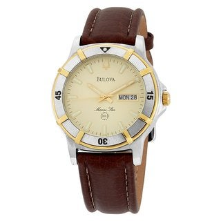Bulova Men's 'Marine Star' Leather Strap Watch