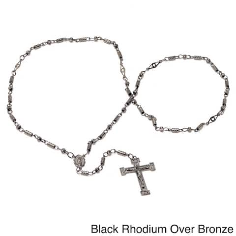 Sterling Essentials Gold Over Bronze 28-inch Diamond-cut Bullet Bead Rosary Necklace