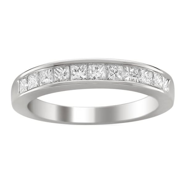 Montebello 14k White Gold 1ct TDW Princess-cut Diamond Wedding Band