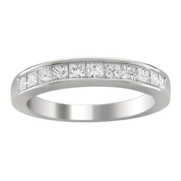 Montebello 14k White Gold 1ct TDW Princess-cut Diamond Wedding Band