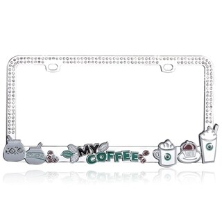 INSTEN Dimensional Coffee Beans Crystal Metal License Plate Frame