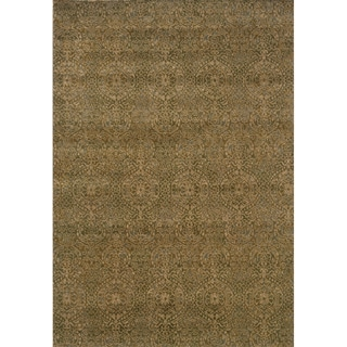 Neutral Panel Beige/ Blue Rug (3'10 x 5'5)