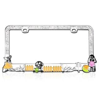 INSTEN Doggy Playground White Crystals License Plate Frame