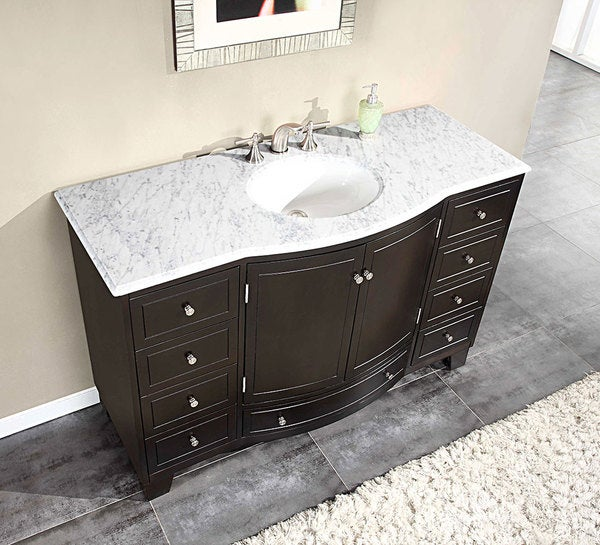 silkroad exclusive 55 inch carrara white marble stone top bathroom single sink cabinet vanity. Black Bedroom Furniture Sets. Home Design Ideas