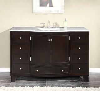 Silkroad Exclusive 55-inch Carrara White Marble Stone Top Bathroom Single Sink Cabinet Vanity