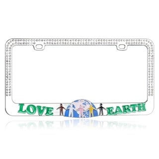 INSTEN Go Green LOVE EARTH with Crystals Metal License Plate Frame