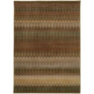 Geometric Brown/ Green Rug (5'3 x 7'6)