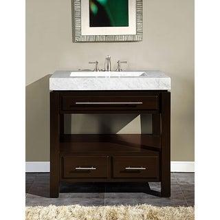 Silkroad Exclusive 36-inch Carrara White Marble Stone Top Bathroom Vanity