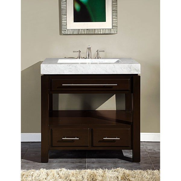 silkroad exclusive 36-inch carrara white marble stone top bathroom