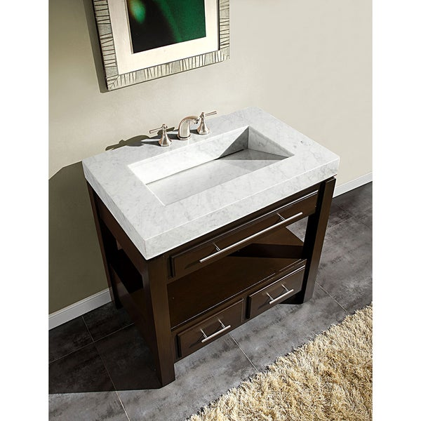 Silkroad Exclusive 36 Inch Carrara White Marble Stone Top Bathroom Vanity    Free Shipping Today   Overstock.com   15449779