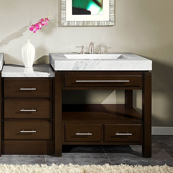 silkroad exclusive 56inch carrara white marble bathroom vanity and side cabinet set
