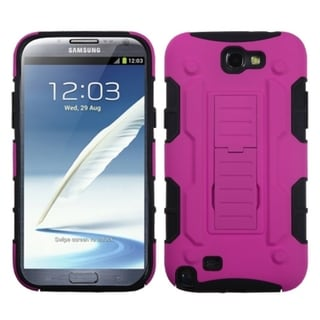 INSTEN Hot Pink/ Black Armor Phone Case Cover for Samsung Galaxy Note II T889/ I605