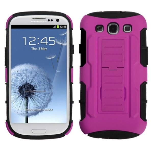 INSTEN Hot Pink/ Black Car Armor Phone Case Cover for Samsung Galaxy S3/ III i9300