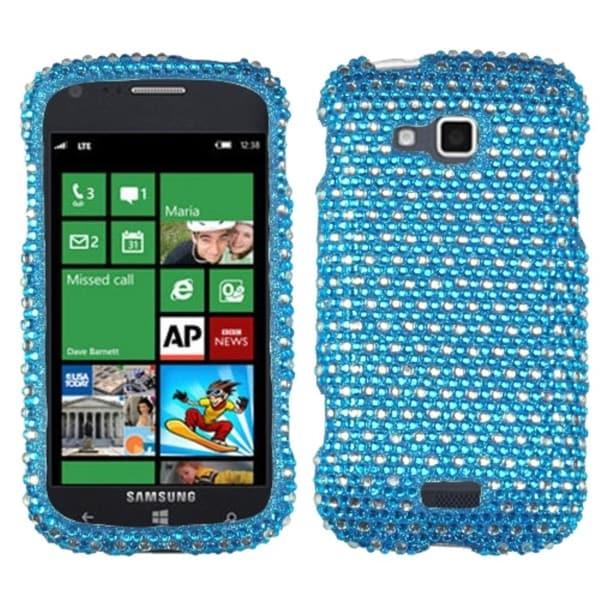 INSTEN Blue/ White Dots Diamante Phone Case Cover for Samsung i930 ATIV Odyssey