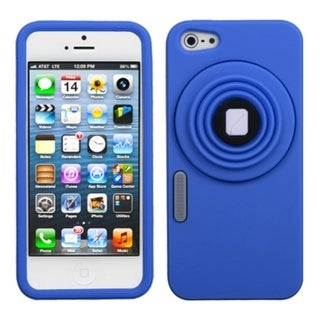 INSTEN Blue Camera-Style Stand Pastel Skin Phone Case for Apple iPhone 5/ 5S/ SE