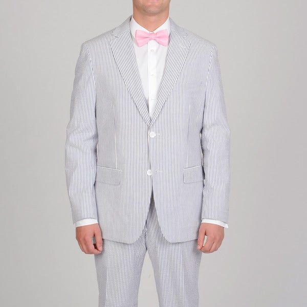 Luca Bertoni Men's Blue Wide Stripe Seersucker Suit