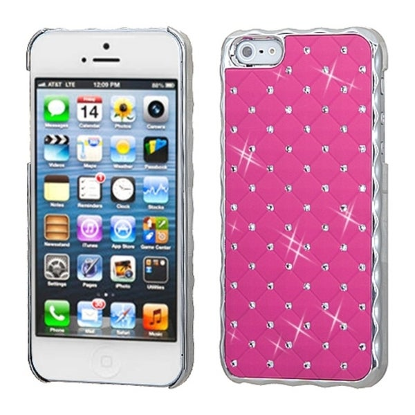 INSTEN Pink/ Silver Dazzling Diamond Back Phone Case Cover for Apple iPhone 5