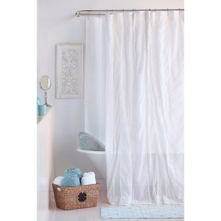 Jeannie White Cotton Shower Curtain