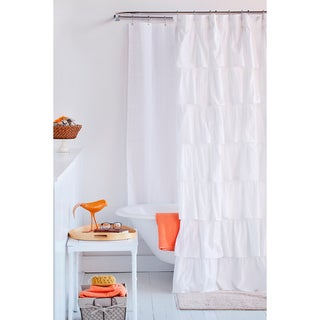 French Tiered Ruffle White Cotton Shower Curtain