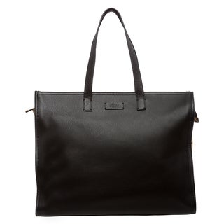 Fendi Leather and Suede Perforated Shopper Bag - Black/Beige