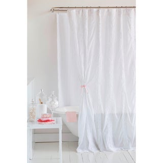 Laurie's Ruffled White Cotton Shower Curtain