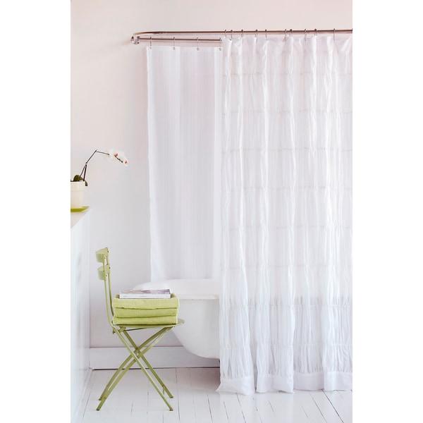 Sophie White Cotton Shower Curtain