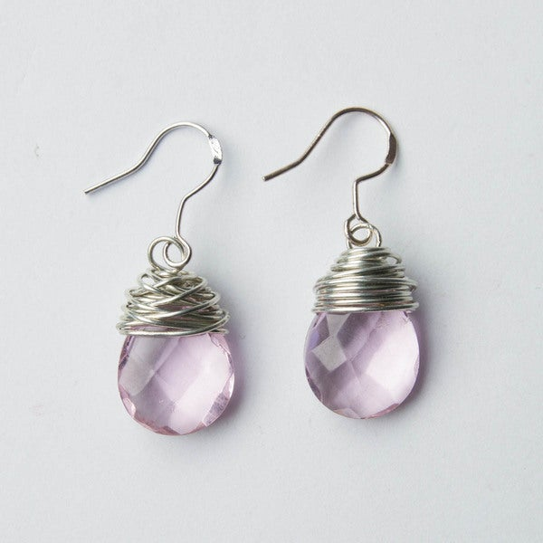 Pink Teardrop Wire-Wrapped Crystal Bead Earrings (China)
