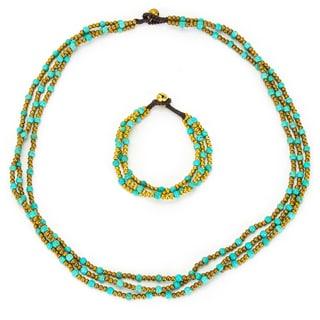 Thai-handicraft Triple Strand Turquoise Necklace and Bracelet Set (Thailand)
