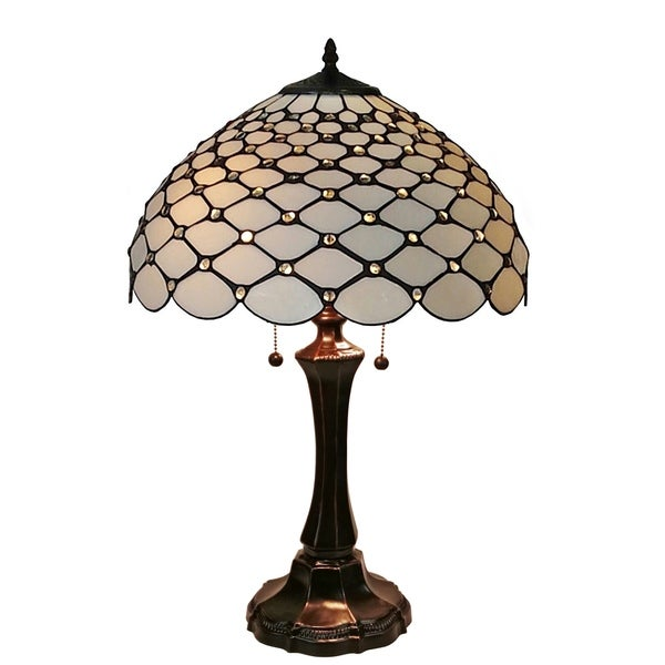 Amora lighting tiffany style chandelle dark brown metal glass table lamp